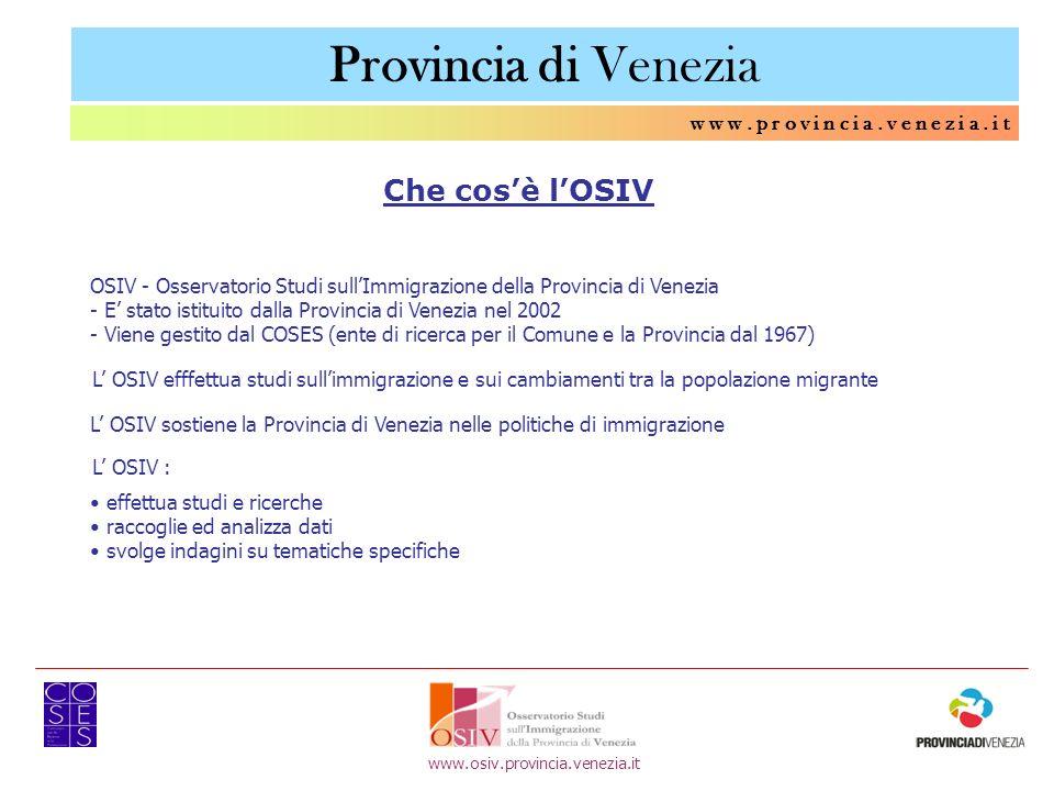 w w w. p r o v i n c i a. v e n e z i a. i t Che cosè lOSIV OSIV - Osservatorio Studi sullImmigrazione della Provincia di Venezia - E stato istituito