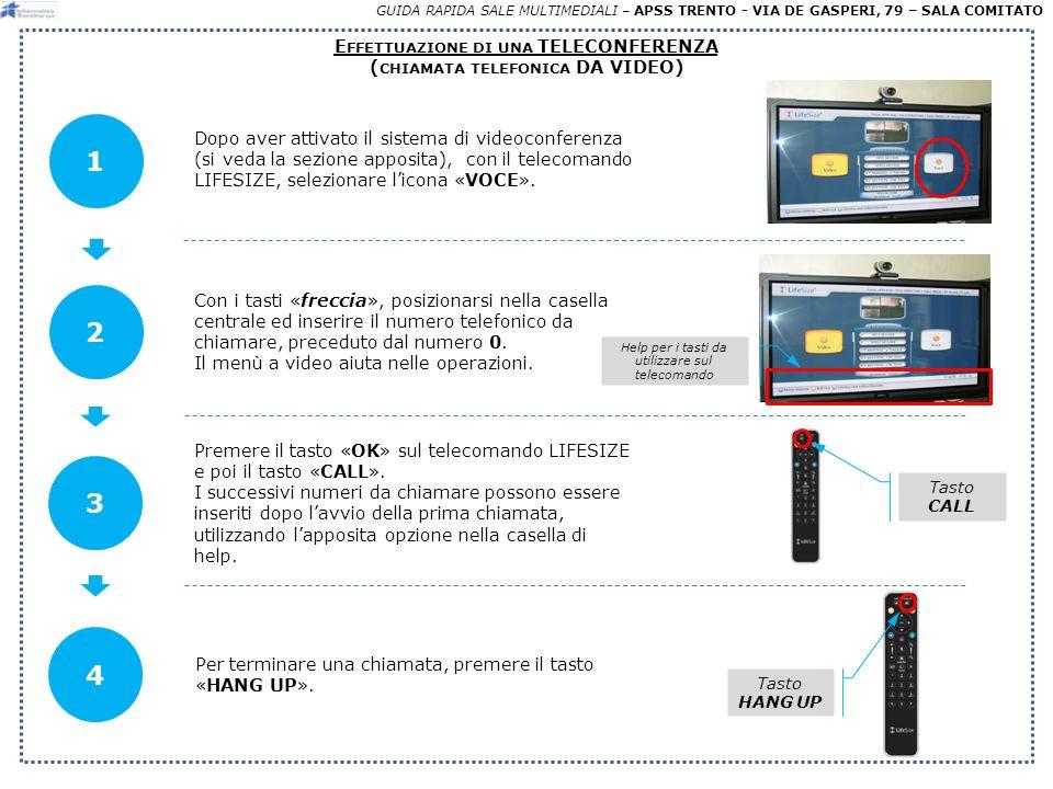 GUIDA RAPIDA SALE MULTIMEDIALI – APSS TRENTO - VIA DE GASPERI, 79 – SALA COMITATO E FFETTUAZIONE DI UNA TELECONFERENZA ( CHIAMATA TELEFONICA DA TASTIERINO TELEFONICO) Dopo aver controllato che i sistemi di sala siano attivati (istruzioni passo-passo dellapposita sezione A-C), avvicinarsi allapposito «LIFESIZE Phone» (tastiera numerica con microfono al centro del tavolo).