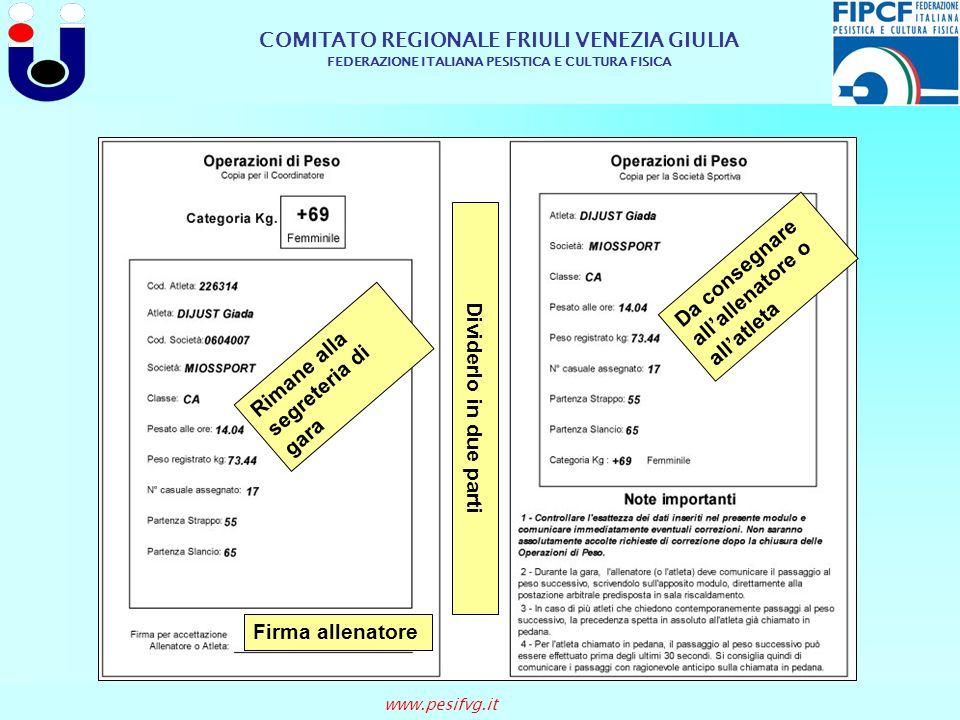 COMITATO REGIONALE FRIULI VENEZIA GIULIA FEDERAZIONE ITALIANA PESISTICA E CULTURA FISICA www.pesifvg.it Dividerlo in due parti Firma allenatore Da con