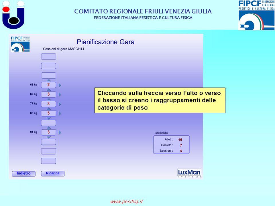 COMITATO REGIONALE FRIULI VENEZIA GIULIA FEDERAZIONE ITALIANA PESISTICA E CULTURA FISICA www.pesifvg.it Cliccando sulla freccia verso lalto o verso il