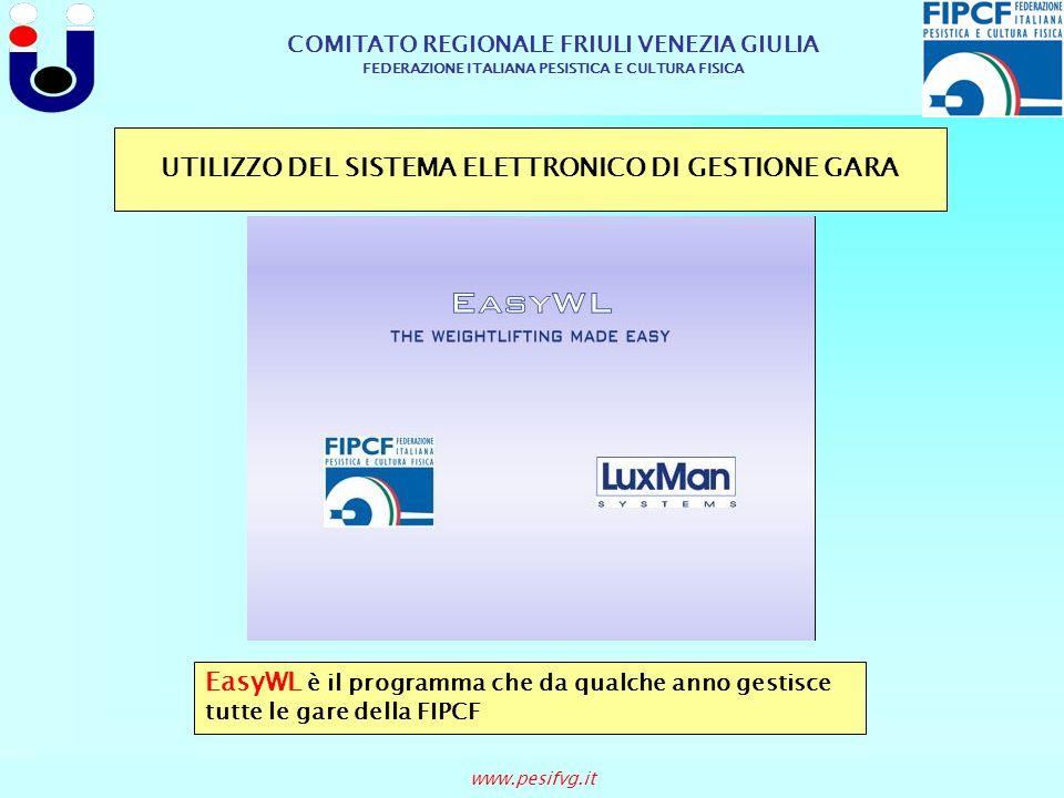 COMITATO REGIONALE FRIULI VENEZIA GIULIA FEDERAZIONE ITALIANA PESISTICA E CULTURA FISICA www.pesifvg.it UTILIZZO DEL SISTEMA ELETTRONICO DI GESTIONE G