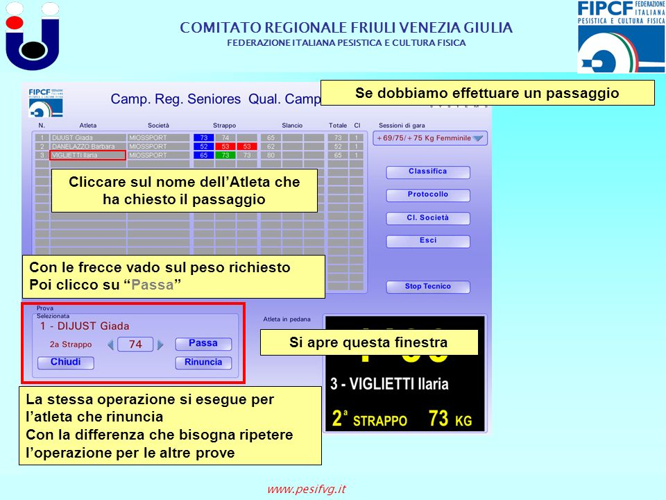 COMITATO REGIONALE FRIULI VENEZIA GIULIA FEDERAZIONE ITALIANA PESISTICA E CULTURA FISICA www.pesifvg.it Se dobbiamo effettuare un passaggio Cliccare s