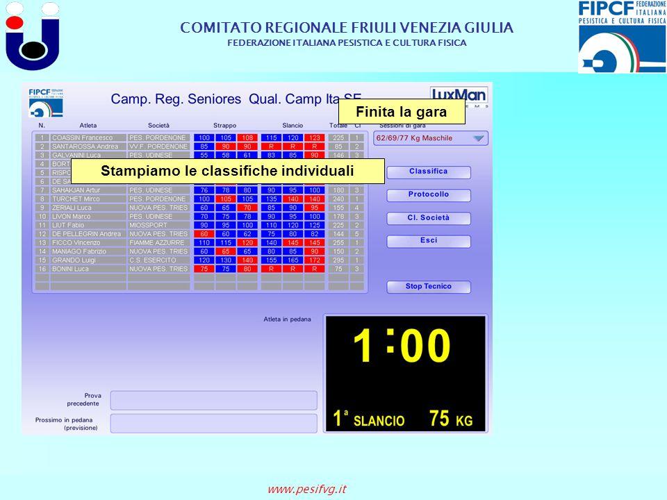 COMITATO REGIONALE FRIULI VENEZIA GIULIA FEDERAZIONE ITALIANA PESISTICA E CULTURA FISICA www.pesifvg.it Stampiamo le classifiche individuali Finita la