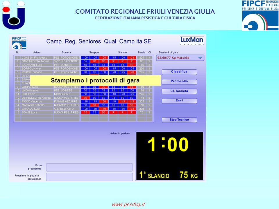 COMITATO REGIONALE FRIULI VENEZIA GIULIA FEDERAZIONE ITALIANA PESISTICA E CULTURA FISICA www.pesifvg.it Stampiamo i protocolli di gara
