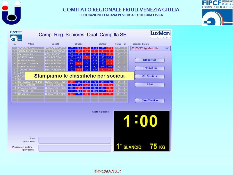 COMITATO REGIONALE FRIULI VENEZIA GIULIA FEDERAZIONE ITALIANA PESISTICA E CULTURA FISICA www.pesifvg.it Stampiamo le classifiche per società