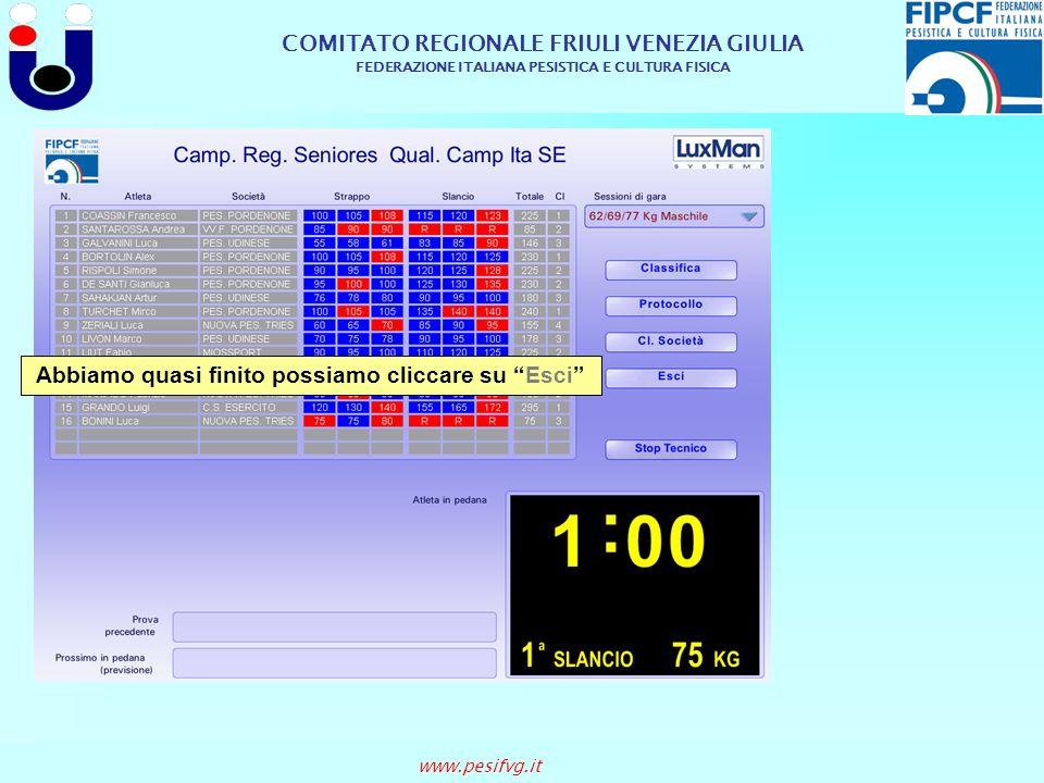 COMITATO REGIONALE FRIULI VENEZIA GIULIA FEDERAZIONE ITALIANA PESISTICA E CULTURA FISICA www.pesifvg.it Abbiamo quasi finito possiamo cliccare su Esci
