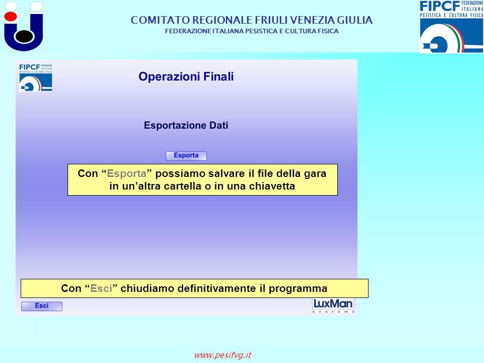 COMITATO REGIONALE FRIULI VENEZIA GIULIA FEDERAZIONE ITALIANA PESISTICA E CULTURA FISICA www.pesifvg.it Con Esci chiudiamo definitivamente il programm