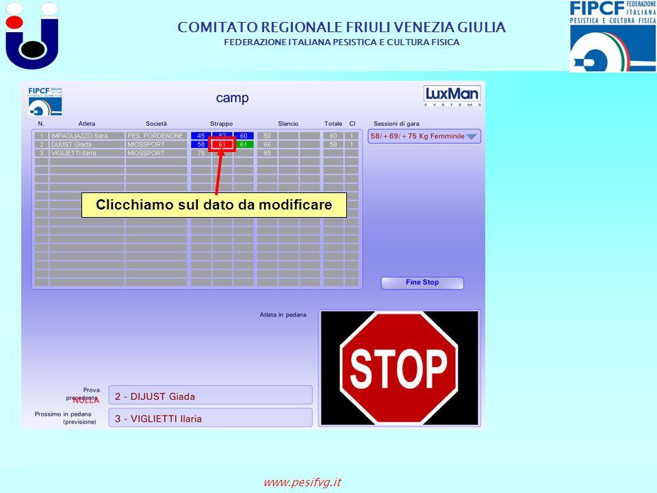 COMITATO REGIONALE FRIULI VENEZIA GIULIA FEDERAZIONE ITALIANA PESISTICA E CULTURA FISICA www.pesifvg.it Clicchiamo sul dato da modificare