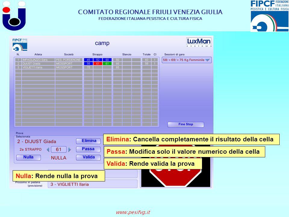 COMITATO REGIONALE FRIULI VENEZIA GIULIA FEDERAZIONE ITALIANA PESISTICA E CULTURA FISICA www.pesifvg.it Elimina: Cancella completamente il risultato d
