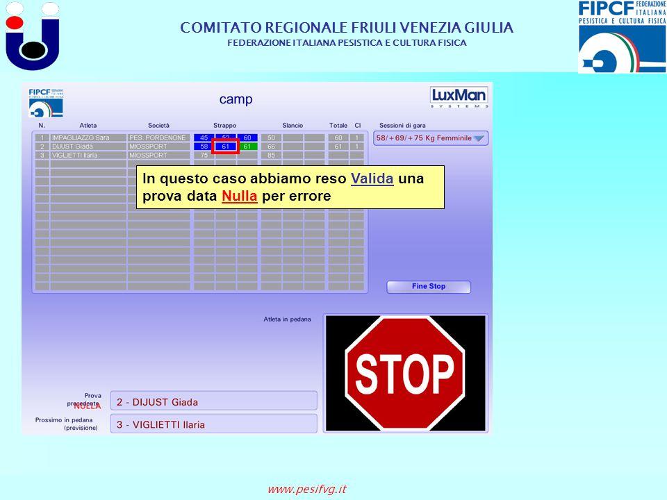 COMITATO REGIONALE FRIULI VENEZIA GIULIA FEDERAZIONE ITALIANA PESISTICA E CULTURA FISICA www.pesifvg.it In questo caso abbiamo reso Valida una prova d