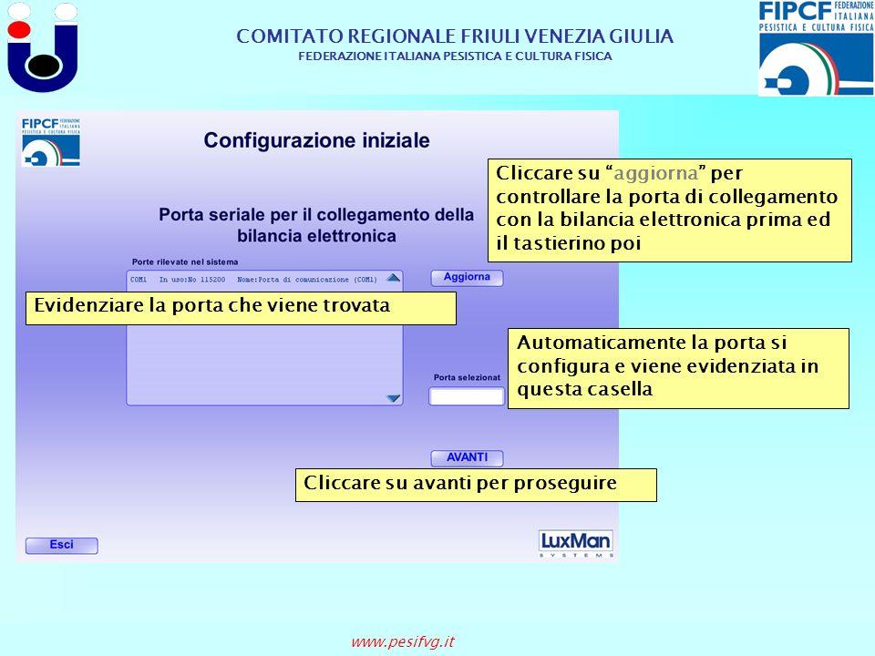COMITATO REGIONALE FRIULI VENEZIA GIULIA FEDERAZIONE ITALIANA PESISTICA E CULTURA FISICA www.pesifvg.it Cliccare suIndietro In queste due caselle vengono visualizzate le categorie e le classi con i relativi atleti che vi gareggiano Qui vengono visualizzati i nomi degli atleti pesati