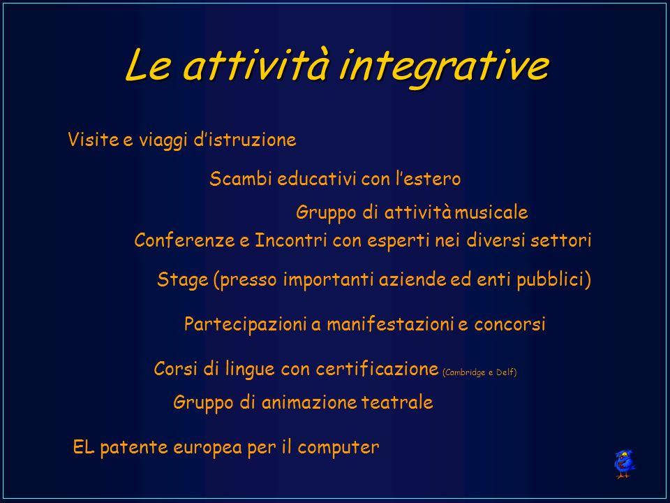Le attività integrative Visite e viaggi distruzione Scambi educativi con lestero EL patente europea per il computer Conferenze e Incontri con esperti