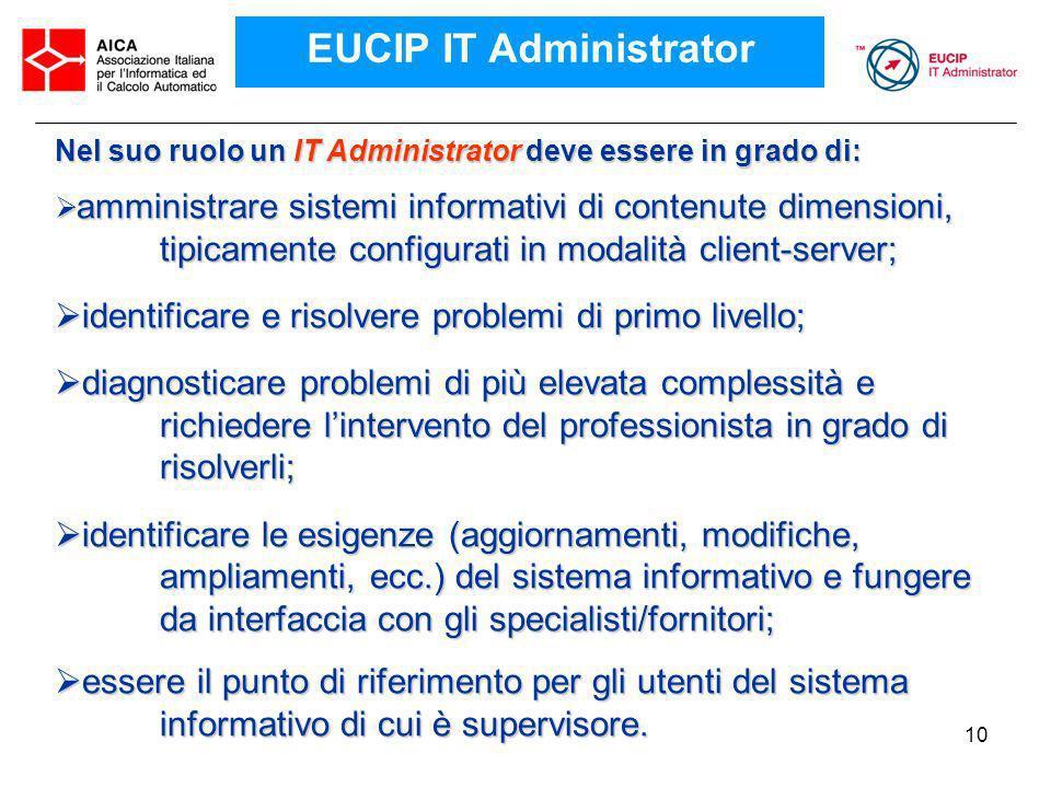 10 Nel suo ruolo un IT Administrator deve essere in grado di: amministrare sistemi informativi di contenute dimensioni, tipicamente configurati in mod