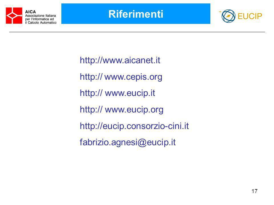 17 http://www.aicanet.it http:// www.cepis.org http:// www.eucip.it http:// www.eucip.org http://eucip.consorzio-cini.it fabrizio.agnesi@eucip.it Rife