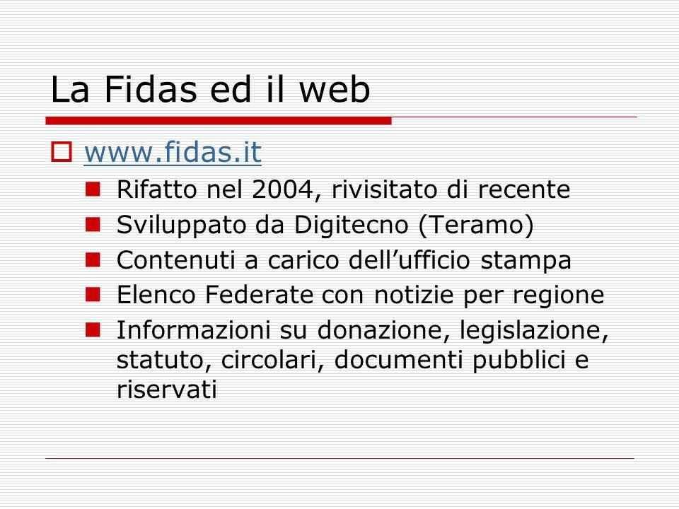 giovani@fidas.it Circolare numero 2 del 2006: In modo parallelo si sta operando per rendere operativa e dinamica l area riservata ai giovani FIDAS.