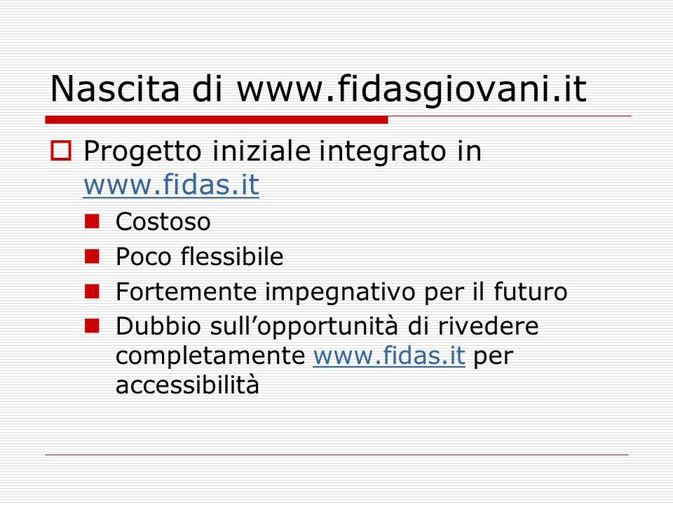 fidasgiovani.it Hosting presso solodomini.com Linux: php e mysql Caratteristiche: 50 Mbyte Database (articoli) 3 GByte disco (foto) 3 GByte/Mese di traffico