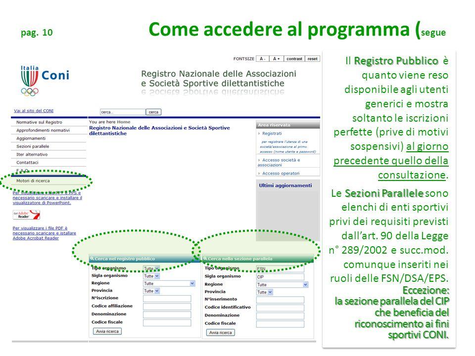 pag. 10 Come accedere al programma ( segue Registro Pubblico Il Registro Pubblico è quanto viene reso disponibile agli utenti generici e mostra soltan