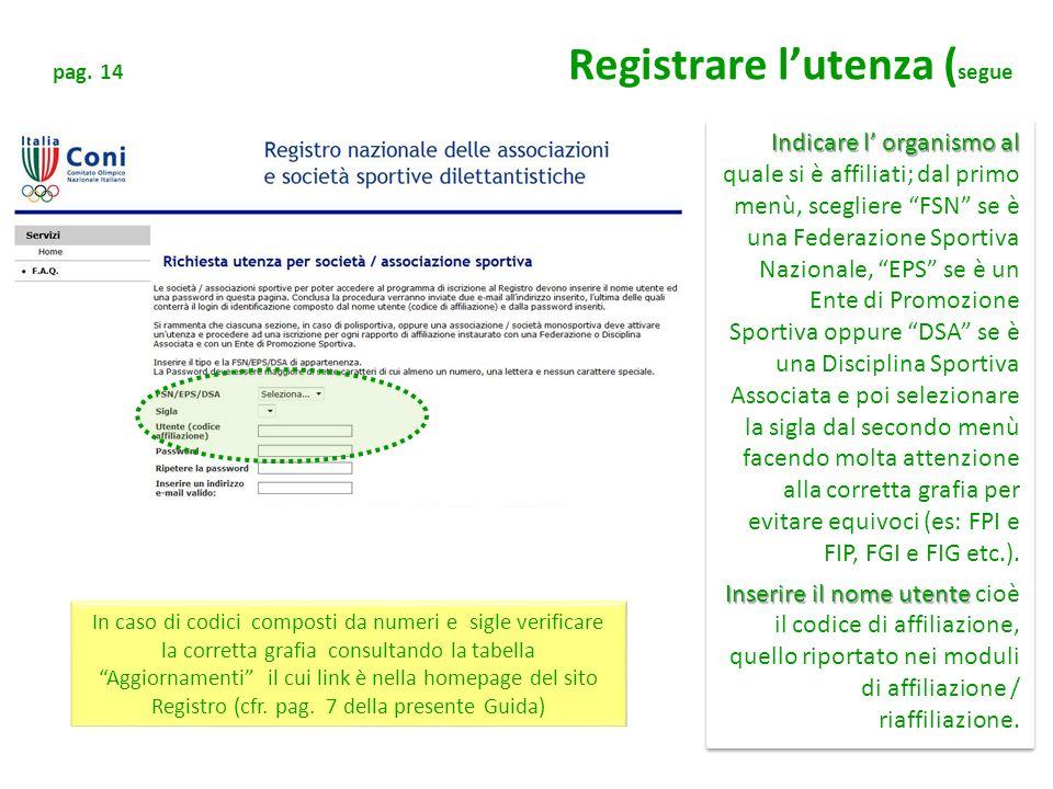 pag. 14 Registrare lutenza ( segue Indicare l organismo al Indicare l organismo al quale si è affiliati; dal primo menù, scegliere FSN se è una Federa