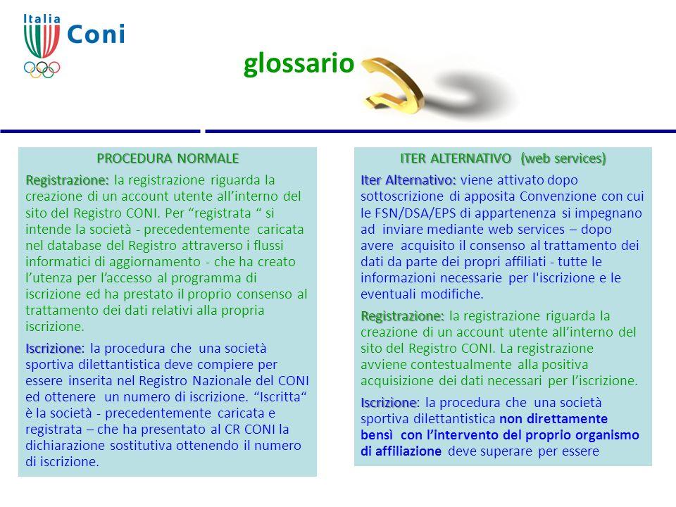 glossario ITER ALTERNATIVO (web services) Iter Alternativo: Iter Alternativo: viene attivato dopo sottoscrizione di apposita Convenzione con cui le FS