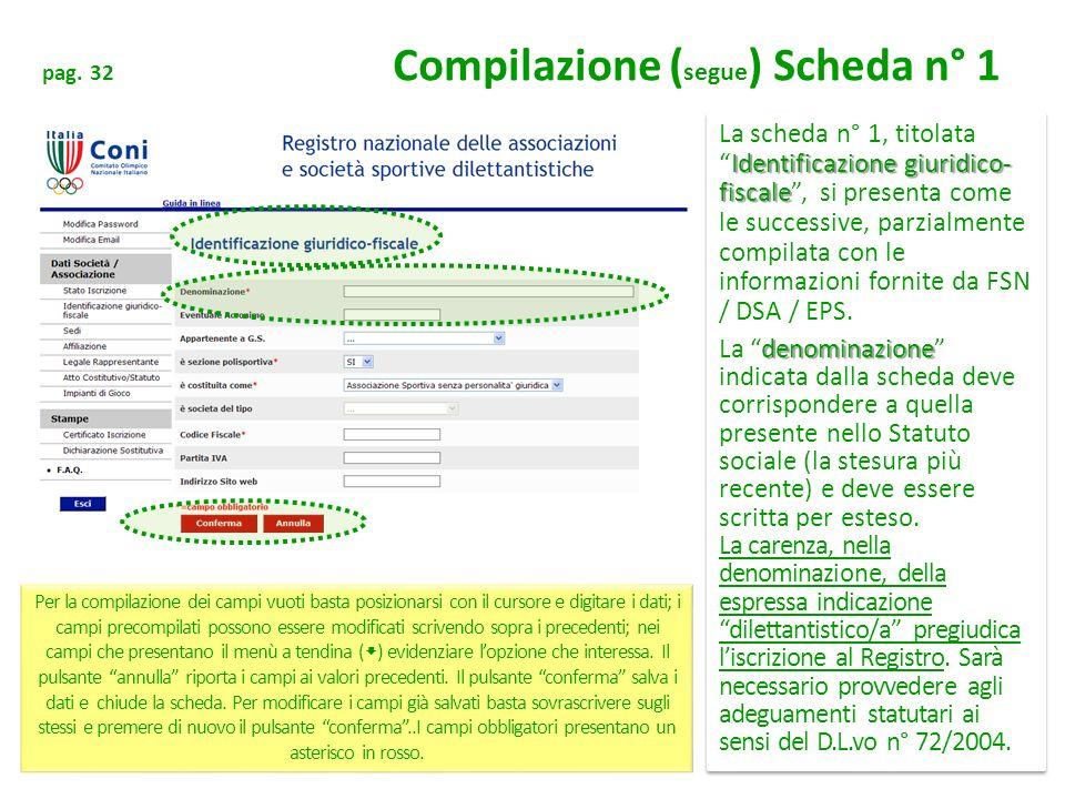 pag. 32 Compilazione ( segue ) Scheda n° 1 Identificazione giuridico- fiscale La scheda n° 1, titolataIdentificazione giuridico- fiscale, si presenta