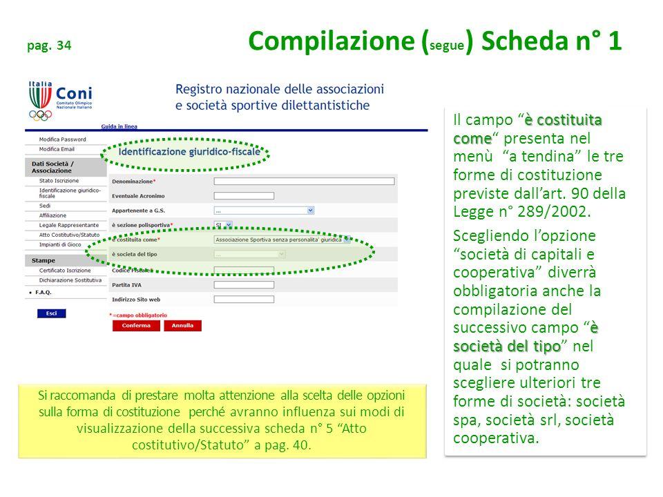 pag. 34 Compilazione ( segue ) Scheda n° 1 è costituita come Il campo è costituita come presenta nel menù a tendina le tre forme di costituzione previ