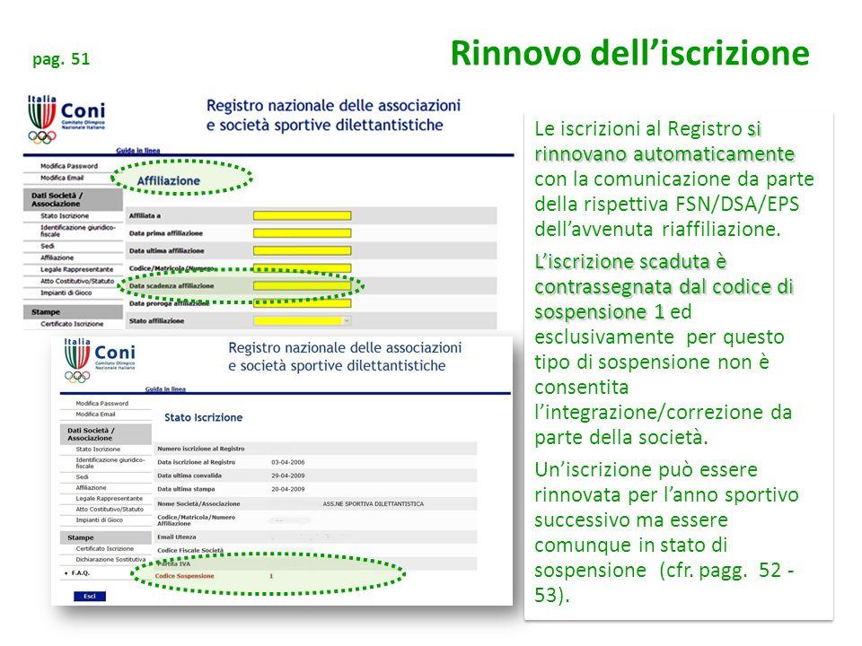 pag. 51 Rinnovo delliscrizione si rinnovano automaticamente Le iscrizioni al Registro si rinnovano automaticamente con la comunicazione da parte della