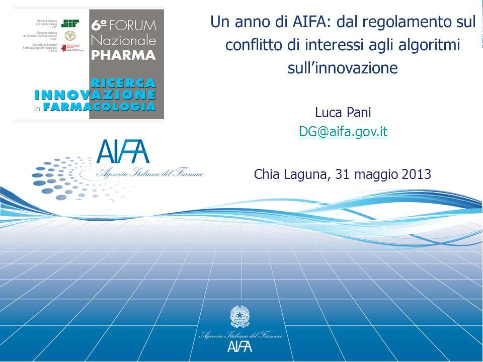 Un anno di AIFA: dal regolamento sul conflitto di interessi agli algoritmi sullinnovazione Luca Pani DG@aifa.gov.it Chia Laguna, 31 maggio 2013