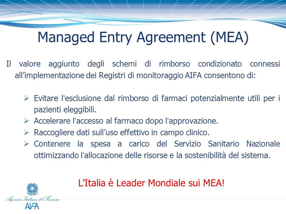 Managed Entry Agreement (MEA) Il valore aggiunto degli schemi di rimborso condizionato connessi allimplementazione dei Registri di monitoraggio AIFA c
