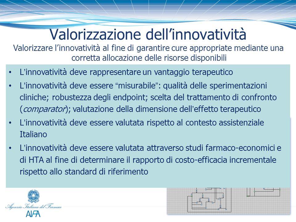 Valorizzazione dellinnovatività Valorizzare linnovatività al fine di garantire cure appropriate mediante una corretta allocazione delle risorse dispon