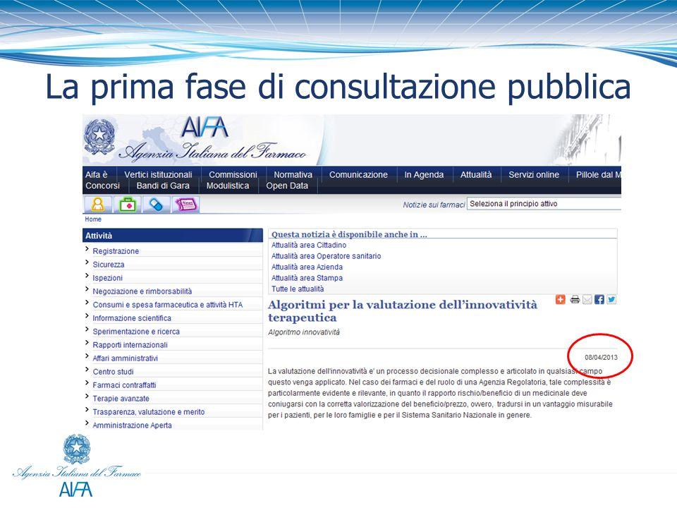 La prima fase di consultazione pubblica