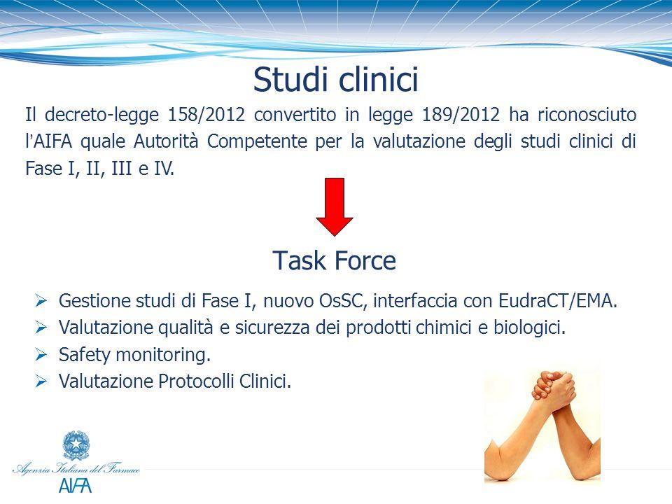 Studi clinici Il decreto-legge 158/2012 convertito in legge 189/2012 ha riconosciuto lAIFA quale Autorità Competente per la valutazione degli studi cl