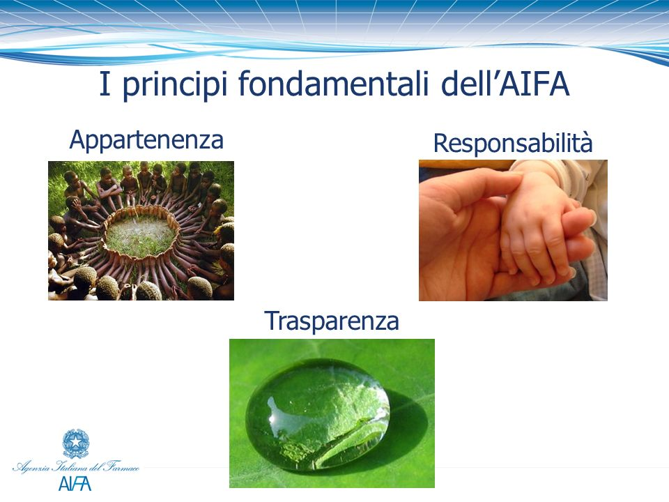 I principi fondamentali dellAIFA Appartenenza Responsabilità Trasparenza