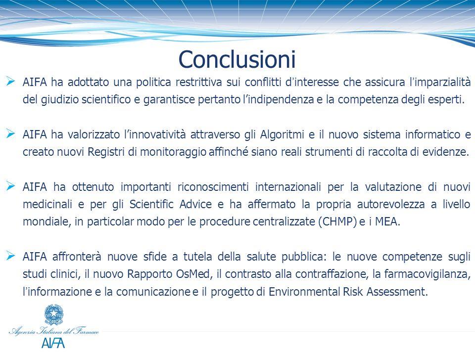 Conclusioni AIFA ha adottato una politica restrittiva sui conflitti dinteresse che assicura limparzialità del giudizio scientifico e garantisce pertan