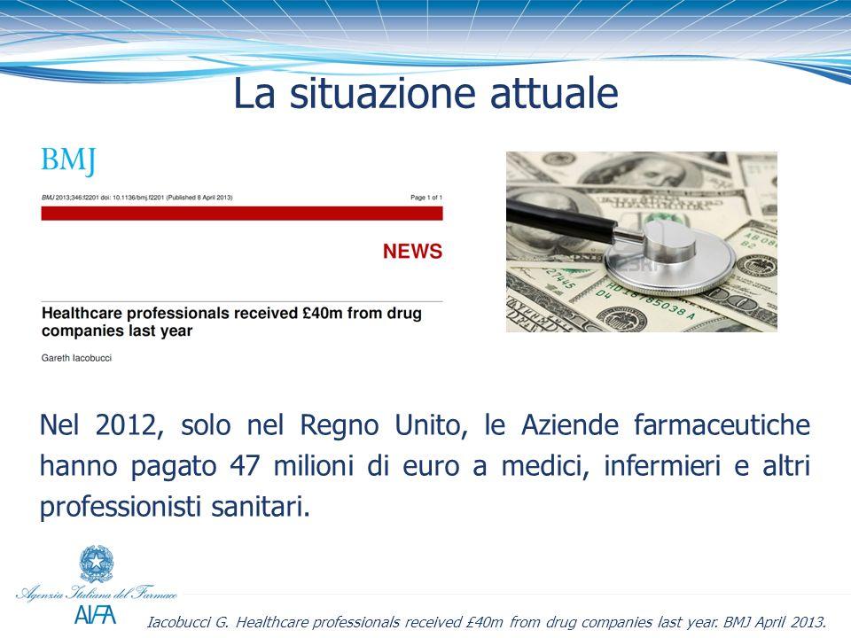 La situazione attuale Nel 2012, solo nel Regno Unito, le Aziende farmaceutiche hanno pagato 47 milioni di euro a medici, infermieri e altri profession