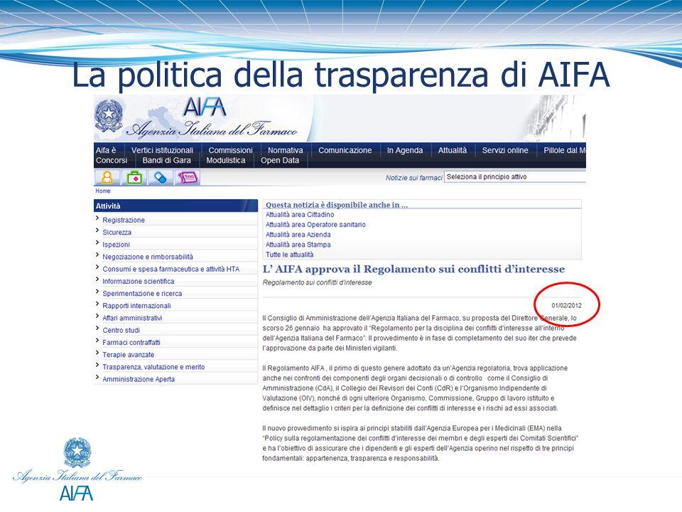 La politica della trasparenza di AIFA