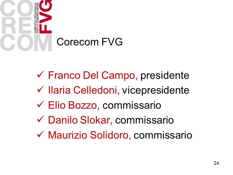 24 Franco Del Campo, presidente Ilaria Celledoni, vicepresidente Elio Bozzo, commissario Danilo Slokar, commissario Maurizio Solidoro, commissario Corecom FVG