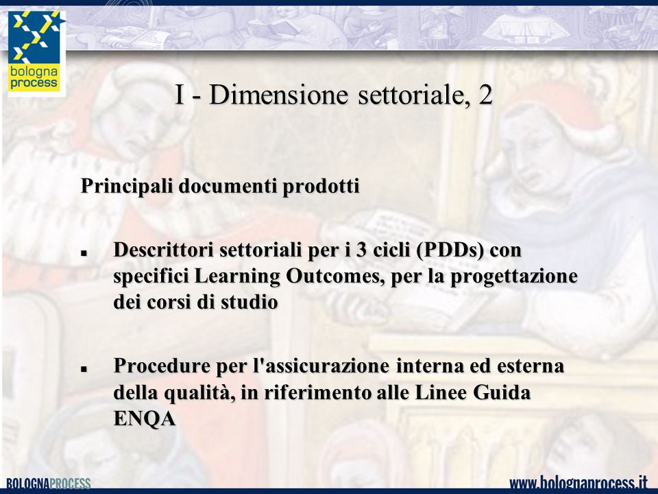 I - Dimensione settoriale, 2 Principali documenti prodotti Descrittori settoriali per i 3 cicli (PDDs) con specifici Learning Outcomes, per la progett