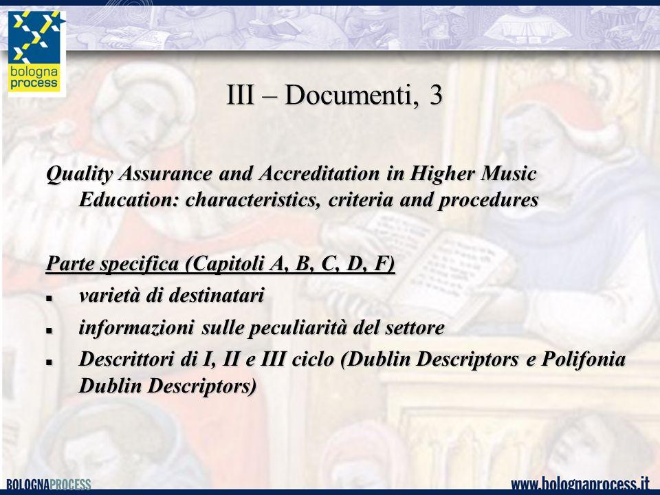 III – Documenti, 4 Parte generale (Capitolo E, criteri e requisiti) Parte generale (Capitolo E, criteri e requisiti) Tipologia dei documenti dati statistici (n.
