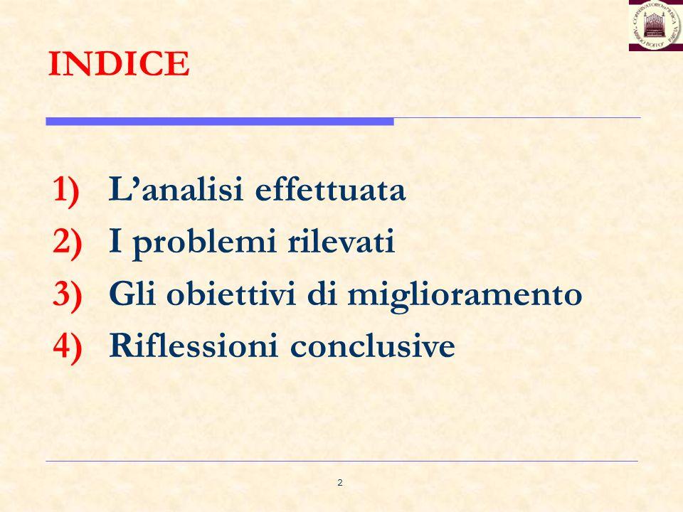2 INDICE 1)Lanalisi effettuata 2)I problemi rilevati 3)Gli obiettivi di miglioramento 4)Riflessioni conclusive