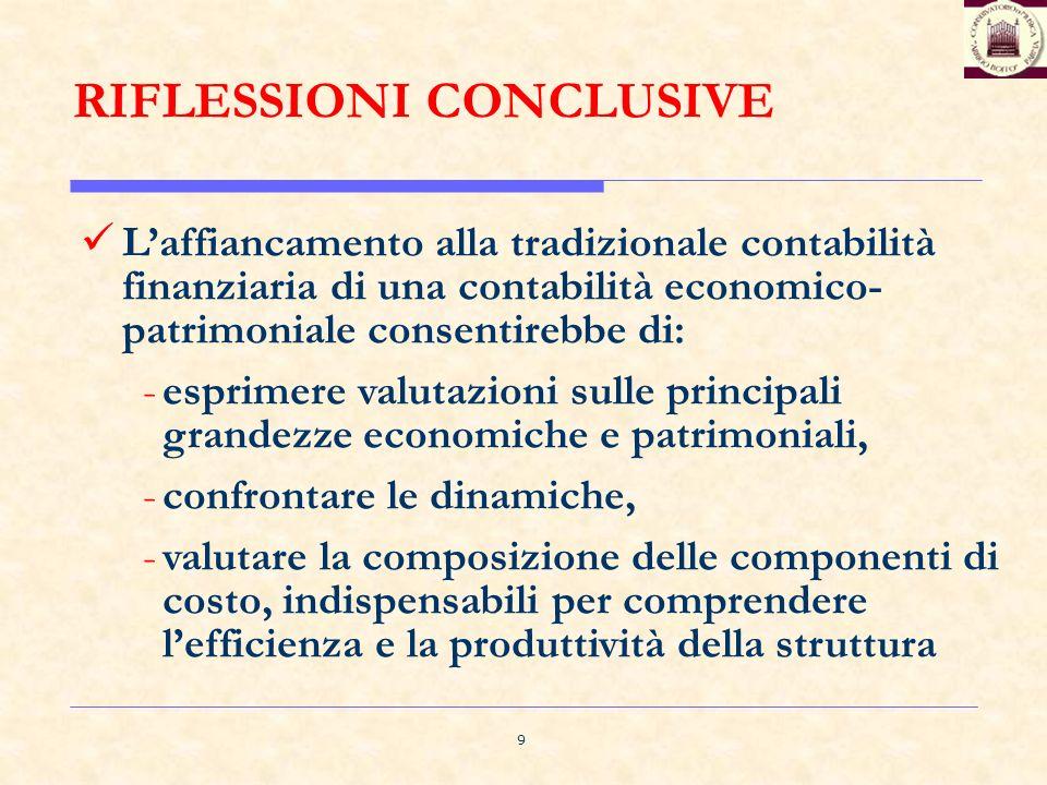 9 RIFLESSIONI CONCLUSIVE Laffiancamento alla tradizionale contabilità finanziaria di una contabilità economico- patrimoniale consentirebbe di: -esprim