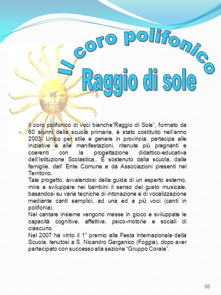 Il coro polifonico di voci biancheRaggio di Sole, formato da 60 alunni della scuola primaria, è stato costituito nellanno 2003. Unico per stile e gene