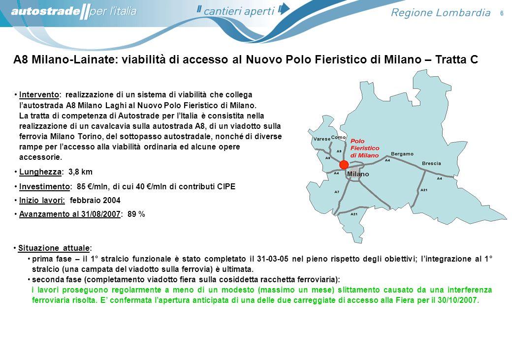 A8 Milano-Lainate: viabilità di accesso al Nuovo Polo Fieristico di Milano – Tratta C Situazione attuale : prima fase – il 1° stralcio funzionale è st