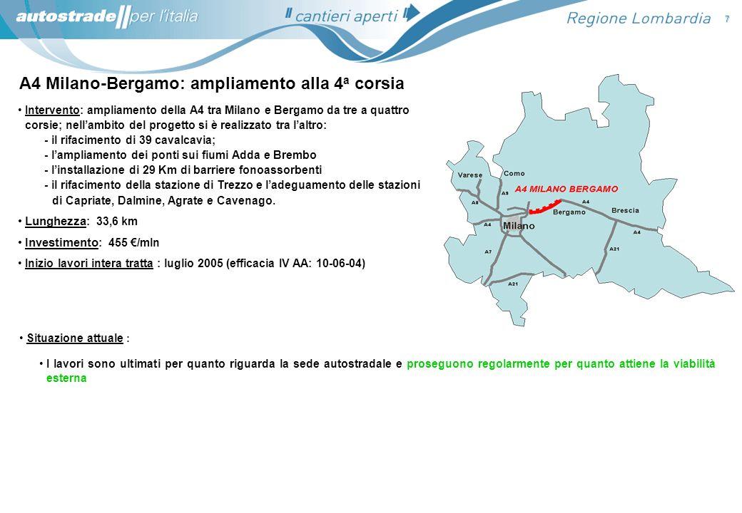 A4 Milano-Bergamo: ampliamento alla 4 a corsia Situazione attuale : I lavori sono ultimati per quanto riguarda la sede autostradale e proseguono regol