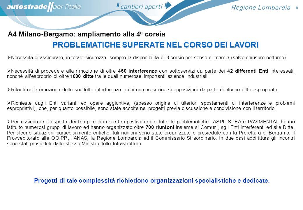 A4 Milano-Bergamo: ampliamento alla 4 a corsia 9 PROBLEMATICHE SUPERATE NEL CORSO DEI LAVORI Necessità di assicurare, in totale sicurezza, sempre la d