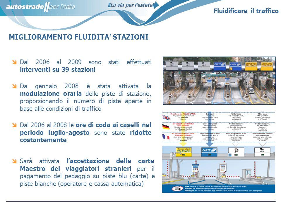La via per lestate Fluidificare il traffico MIGLIORAMENTO FLUIDITA STAZIONI Dal 2006 al 2009 sono stati effettuati interventi su 39 stazioni Da gennai