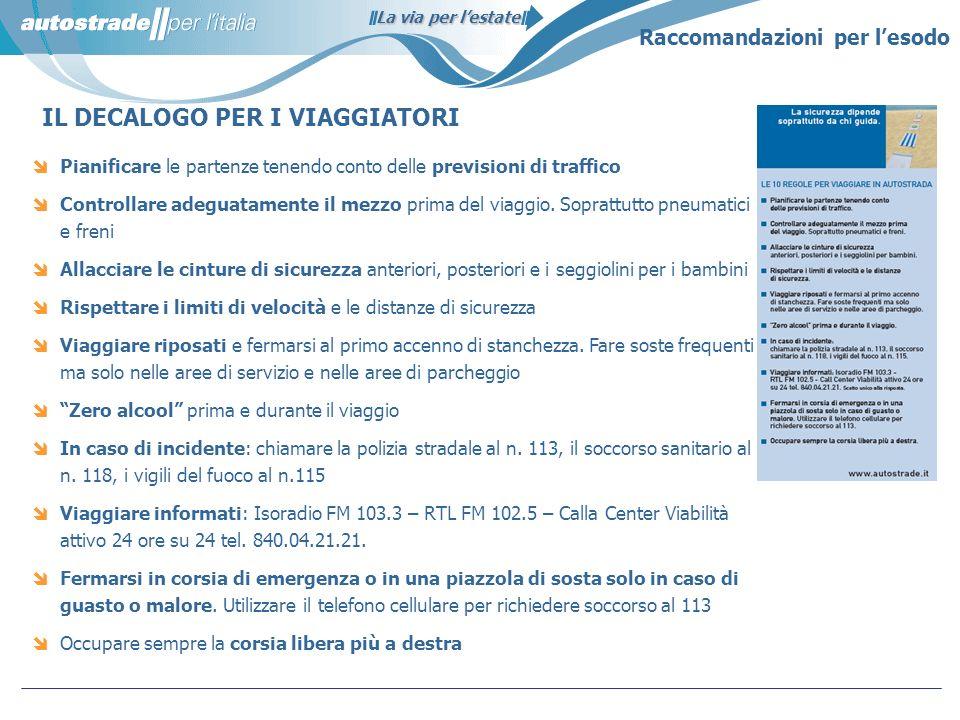 La via per lestate IL DECALOGO PER I VIAGGIATORI Raccomandazioni per lesodo Pianificare le partenze tenendo conto delle previsioni di traffico Control