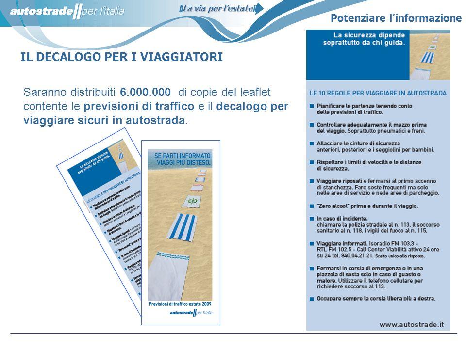 La via per lestate IL DECALOGO PER I VIAGGIATORI Saranno distribuiti 6.000.000 di copie del leaflet contente le previsioni di traffico e il decalogo p