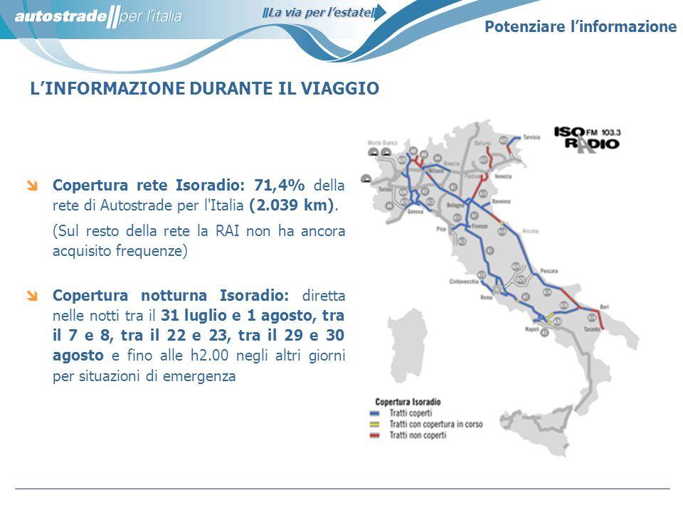 La via per lestate LINFORMAZIONE DURANTE IL VIAGGIO Copertura rete Isoradio: 71,4% della rete di Autostrade per l'Italia (2.039 km). (Sul resto della