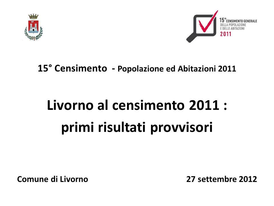 15° Censimento - Popolazione ed Abitazioni 2011 Livorno al censimento 2011 : primi risultati provvisori Comune di Livorno 27 settembre 2012