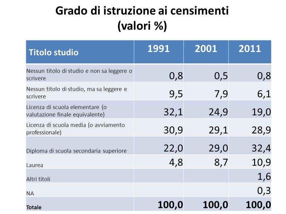 Grado di istruzione ai censimenti (valori %) Titolo studio 199120012011 Nessun titolo di studio e non sa leggere o scrivere 0,80,50,8 Nessun titolo di